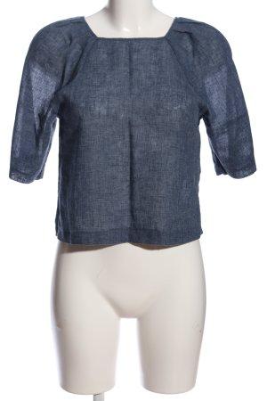 Mango Suit Kurzarm-Bluse blau meliert Casual-Look