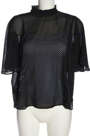 Mango Suit Kurzarm-Bluse schwarz Allover-Druck Elegant