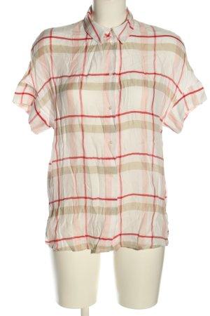 Mango Suit Kurzarm-Bluse creme-rot Karomuster Casual-Look