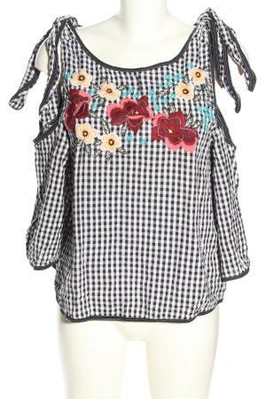 Mango Suit Kurzarm-Bluse schwarz-weiß Karomuster Casual-Look