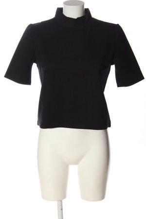 Mango Suit Kurzarm-Bluse schwarz Casual-Look