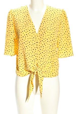 Mango Suit Kurzarm-Bluse blassgelb-schwarz Allover-Druck Business-Look