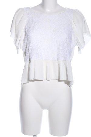 Mango Suit Kurzarm-Bluse weiß Elegant