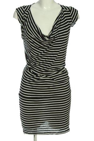 Mango Suit Kurzarmkleid weiß-schwarz Streifenmuster Casual-Look