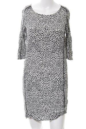 Mango Suit Kurzarmkleid schwarz-weiß Animalmuster Elegant