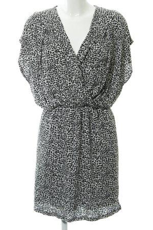 Mango Suit Kurzarmkleid weiß-schwarz Animalmuster Animal-Look