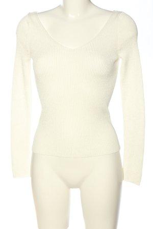 Mango Suit Langarm-Bluse wollweiß Streifenmuster Casual-Look