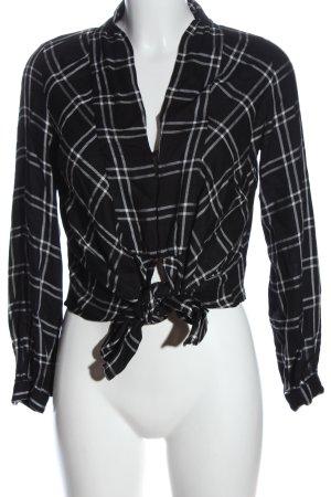 Mango Suit Langarm-Bluse schwarz-weiß Karomuster Casual-Look