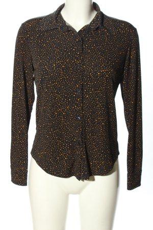 Mango Suit Langarm-Bluse schwarz-hellorange abstraktes Muster Business-Look