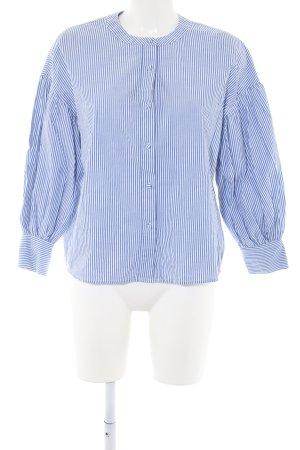 Mango Suit Langarm-Bluse blau-weiß Streifenmuster Business-Look
