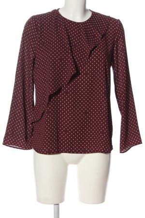 Mango Suit Langarm-Bluse braun-wollweiß Punktemuster Casual-Look