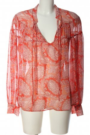 Mango Suit Langarm-Bluse rot-weiß Allover-Druck Casual-Look