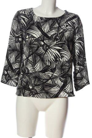 Mango Suit Langarm-Bluse schwarz-weiß Allover-Druck Casual-Look