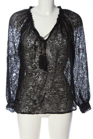Mango Suit Langarm-Bluse schwarz Allover-Druck Elegant