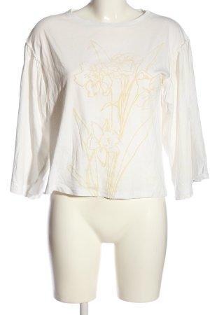 Mango Suit Langarm-Bluse weiß-nude Blumenmuster Casual-Look