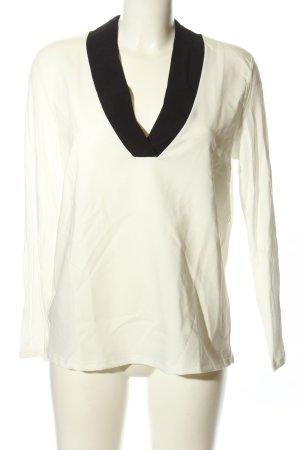 Mango Suit Langarm-Bluse weiß-schwarz Casual-Look
