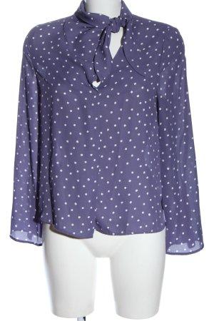 Mango Suit Langarm-Bluse lila-weiß Punktemuster Elegant