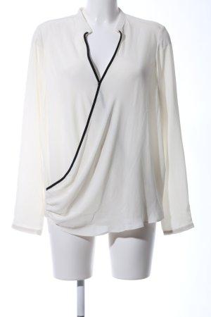 Mango Suit Langarm-Bluse wollweiß-schwarz Business-Look