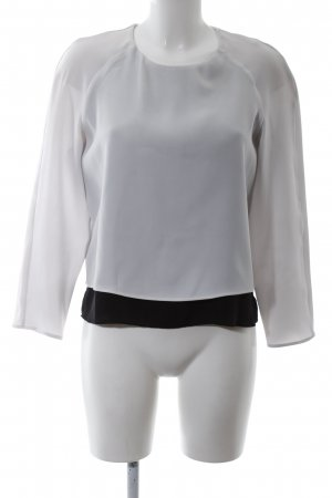 Mango Suit Langarm-Bluse weiß-schwarz Business-Look