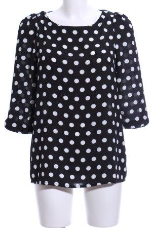 Mango Suit Langarm-Bluse schwarz-weiß Punktemuster Casual-Look