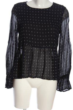 Mango Suit Langarm-Bluse schwarz Allover-Druck Casual-Look