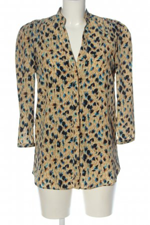 Mango Suit Long Sleeve Shirt cream-blue abstract pattern business style