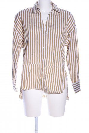 Mango Suit Long Sleeve Shirt brown-natural white striped pattern casual look