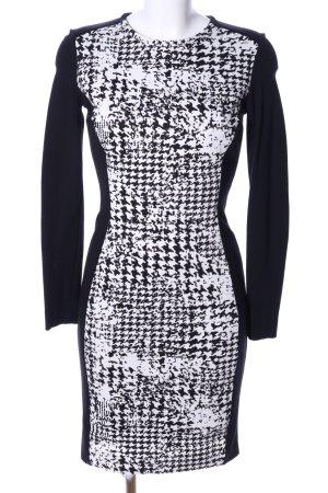 Mango Suit Langarmkleid schwarz-weiß abstraktes Muster Casual-Look