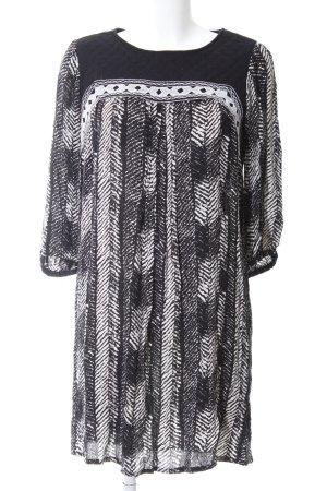 Mango Suit Langarmkleid schwarz-weiß Allover-Druck Business-Look