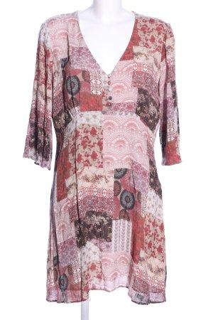 Mango Suit Langarmkleid pink-hellgrau Allover-Druck Business-Look