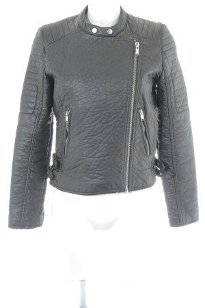 Mango Suit Lederjacke dunkelbraun Biker-Look