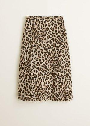 Mango Suit Spódnica midi brązowy Bawełna