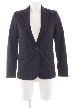 Mango Suit Long-Blazer schwarz-weiß Punktemuster Business-Look
