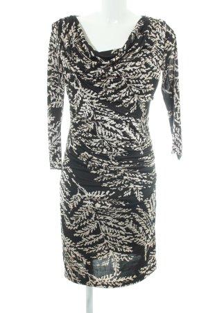 Mango Suit Geklede jurk zwart-wolwit bloemen patroon elegant