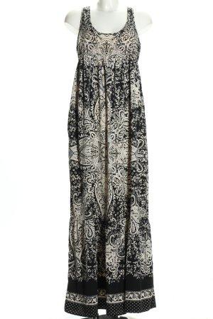 Mango Suit Maxikleid schwarz-weiß abstraktes Muster Casual-Look