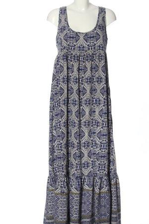 Mango Suit Maxikleid blau-weiß abstraktes Muster Elegant