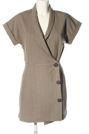 Mango Suit Midikleid creme-braun Karomuster Casual-Look