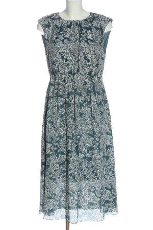 Mango Suit Midikleid blau-weiß Allover-Druck Casual-Look