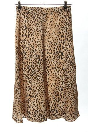 Mango Suit Midirock braun-wollweiß Leomuster Casual-Look