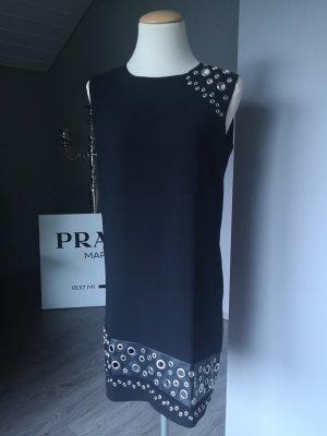 Mango Suit Oversize - Kleid mit Lederdetails und Nieten Gr S Midi Midikleid Partykleid Kleid Oversizekleid Sommer Sommerkleid schwarz silber edel elegant Business Businesskleid hochwertig