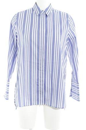 Mango Suit Oversized Bluse weiß-blau Streifenmuster Street-Fashion-Look