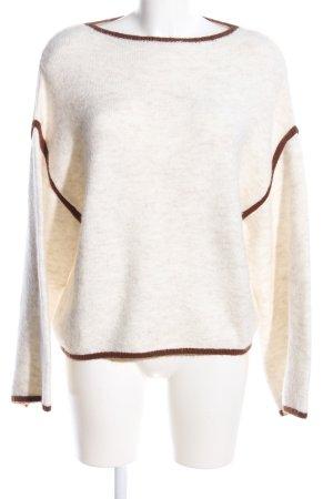 Mango Suit Oversized Pullover wollweiß-braun meliert Casual-Look