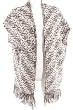 Mango Suit Ponczo biały-czarny Abstrakcyjny wzór W stylu casual