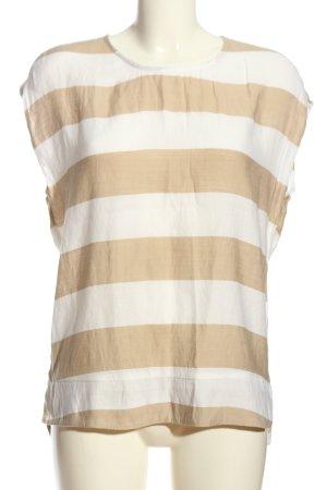 Mango Suit Ringelshirt weiß-braun Allover-Druck Casual-Look