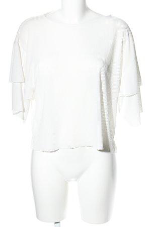 Mango Suit Geribd shirt wit zakelijke stijl