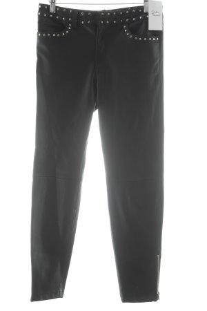 Mango Suit Röhrenhose schwarz-silberfarben Nietenelemente