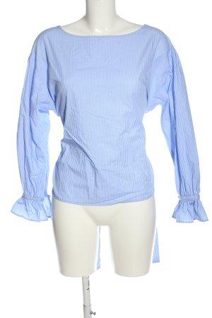 Mango Suit Rüschen-Bluse blau-weiß Streifenmuster Casual-Look