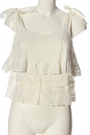 Mango Suit Frill Top natural white casual look