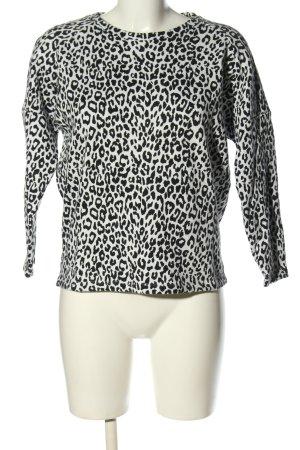 Mango Suit Rundhalspullover weiß-schwarz Allover-Druck Casual-Look