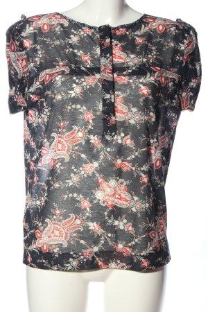 Mango Suit Schlupf-Bluse schwarz-rot abstraktes Muster Business-Look